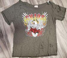 Women's L/XL Emory Park Olive Green Distressed Punk/Rock Chaos Born Free Tshirt