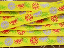 """25yds Full Reel 10mm/0.4"""" Grosgrain Ribbon - Sunny Yellow & Summer Citrus Fruit"""