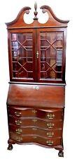 Vintage 1950s Mahogany Dropfront Winthrop Style Secretary w/ Breakfront Bookcase