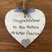 personalised handmade engagement gift/present wooden heart