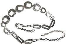 Chico's Silver Tone Hammered Metal Chain Belt Circles Boho Bohemian Gypsy
