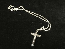 Jesus Crucifix Cross Wood & Sterling Silver Pendant Necklace, Chain-Silverplate