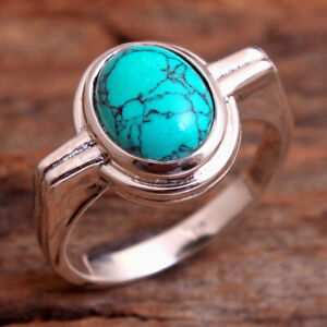 Oval Turquoise Gemstone 925 sterling Silver Jewelry Women Ring Size US 7.5