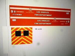 Los Angeles California  LAFD Fire Department Ambulance Decals 1:48 Custom