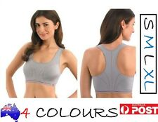 JOCKEY SEAMLESS CROP TOP RACER BACK SPORTS BRA-REMOVABLE CUPS-S/M/L/XL-RRP $32