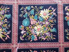 OVER 2 YARDS OF ALL COTTON NAVY BLUE FABRIC WITH PINK SQUARES & AQUA FLOWERS