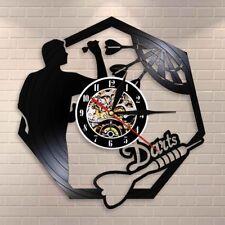 Darts Game Dart Board Vinyl Record Wall Clock Game Room Bar Pub Wall Art Decor