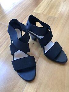NEW Womens Joe Mercer Black Heeled Sandals Size36