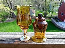2 Homco 1195-1 Amber Classique Crimped Edge Peg Votive Cup Candle Holders