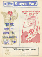 More details for transvaal v northern tvl 21 sep 1974 currie cup final s africa rugby programme
