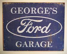 GEORGE'S FORD GARAGE, TIN PLATE SIGN, ZODIAC, GRANADA, ZEPHYR, ANGLIA, CONSUL,