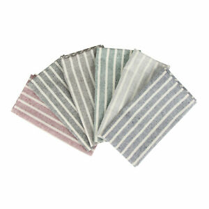 Soft Broad Striped Linen Cotton Dinner Cloth Napkins - Set of 12 (17 x 17 inch)