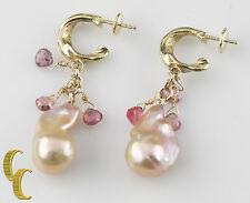 14k ORO AMARILLO barroco perla dormilonas con / Briolette piedra preciosa