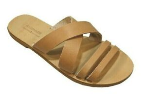 Greek Handmade Sandals Slide Leather Gladiator Ancient Style Strappy Women Shoes