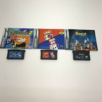 Lot of 3 Nintendo Game Boy Advance GBA Games With Manuals Kim Possible 2 Uno