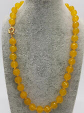 Fashion 10mm Natural Faceted Yellow Jade Round Gemstone Beads Necklace 18'' AAA
