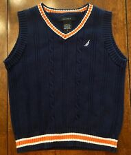 Nautica Toddler Boy Navy Blue & Orange Sweater Vest - SIZE 4