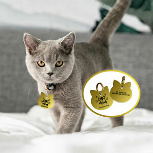 Pet ID Tag Engraved Deep Cat Name Tags Personalized Customized Name Tag