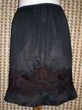 Vintage Women's Unbranded Black Lacey Insert Half Slip L W:22-36 H:40 L:20