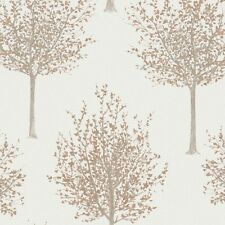 Nordic Elegance Copper Orange Trees Wallpaper Glitter Paste the Wall NG2101