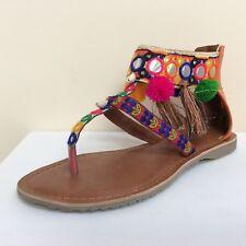 Marco Tozzi multi-coloured ethnic style toe post sandals, UK 6/EU 39,  BNWB