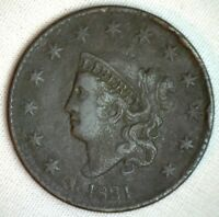 1831 Coronet Large Cent US Copper Type Coin Very Fine Genuine Penny N2 M47 VF