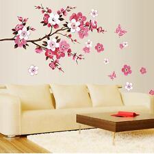 Hot Sale Peach Blossom Flowers Tree Branch Art Decal Nursery Wall Sticker Decor