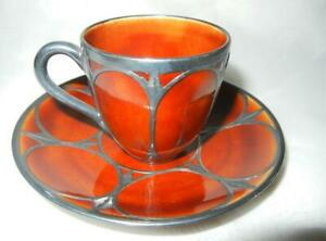 BEAUTIFUL ANTIQUE CROWN STAFFORDSHIRE STERLING OVERLAY DEMITASSE CUP & SAUCER
