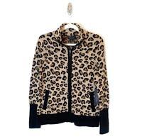 Rachel Zoe Women's Cardigan Sweater Leopard Full Zip Soft Cozy Size Medium NEW