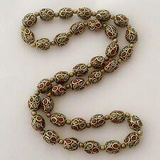 "Coral 36 Beads Strand Necklace 24"" Brass Nepalese Tibetan Handmade Nepal N2315"