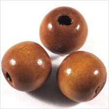 Lot de 20 Perles rondes en Bois 14mm Marron clair