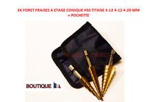 3X FORET FRAISE ETAGE CONIQUE HSS TITANE 3-12 4-12 4-20 MM + POCHETTE