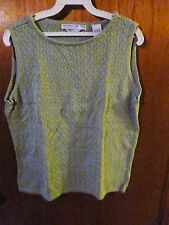 Woman's Geoffrey Beene 100% Cotton Sleeveless Green Knit Top Size L