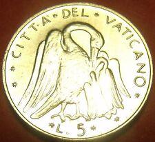 Rare Gem Unc Vatican 1970 5 Lire~Pelican Feeding Young~100,000 Minted~Free Ship