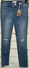 NWT ABERCROMBIE KIDS GIRLS 13/14  PULL ON JEAN LEGGING RIPPED Pearls