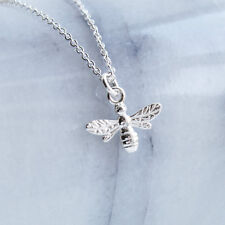 Sterling Silver Bumble Bee Charm Pendant Necklace - 925
