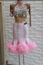 Pink Ladies Latin Ballroom Dance Dress with Swarovski Crystals Size 2-4