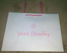 (1) New Vera Bradley LARGE GIFT BAG, White w/Pink Trim,UNUSED,Acquired Flat, HTF