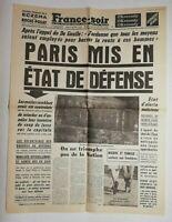 N702 La Une Du Journal France-soir 25 avril 1961 Paris mis en état de défense