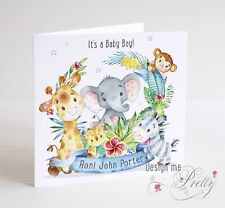 PERSONALISED CUTE JUNGLE ANIMAL New Baby Boy Card -