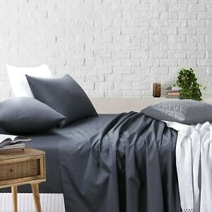 Flat Fitted 4pcs Sheet sets Super King Queen Double Single Bedding charcoal Grey