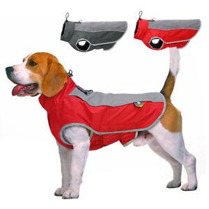 Waterproof Dog Coats Winter Warm Soft Fleece Dog Jacket Reflective Clothes Red