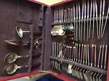 62 piece rosewood and brass cutlery set /canteen in box poss vintage