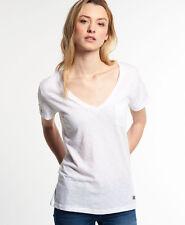 Superdry Mujer Camiseta con cuello de pico Vintage Dye Blanco