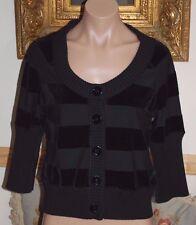 Beautiful Designer SONIA RYKIEL Ladies Black Velvet Striped Cardigan Sweater L