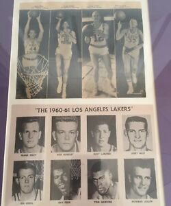 Los Angeles Lakes 1960-61 14x18 Framed Newspaper Team Picture Original