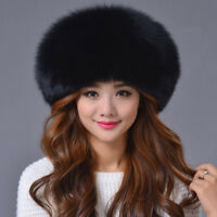 Black fox fur Sheepskin leather hat White Russian Ushanka/Cossack Trapper Hat
