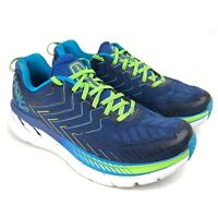 Men's Hoka One One Clifton 4 Running Shoes Sneakers Size 9 Blue Black Green