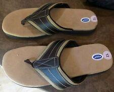 New Dr. Scholl's brown/tan men's Pike flip flop advanced comfort sandals sz 12M