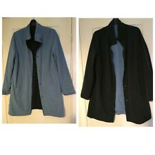 Womens Long Jacket Blue Navy Blue 2 Sides Size 12 (A442)